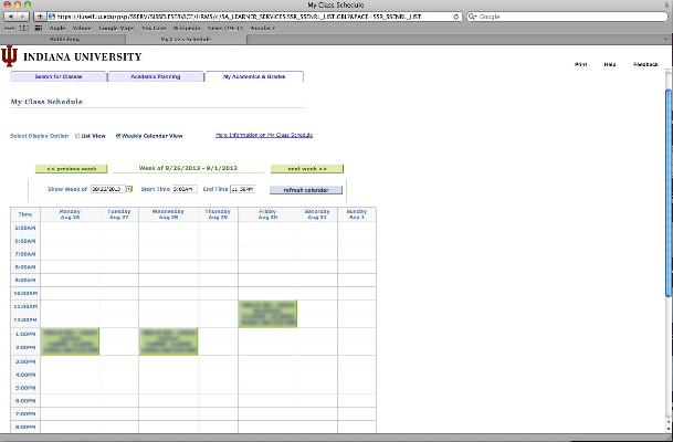 My Class Schedule All IU Campuses OneIU