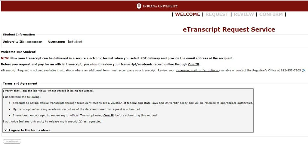 eTranscript Request (Recent Students) All IU Campuses OneIU