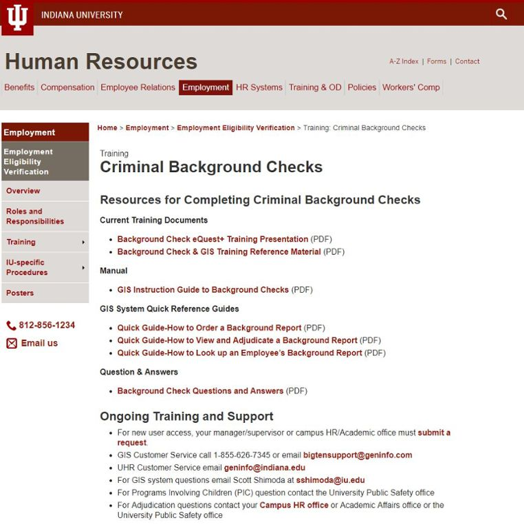 Background Check Training All IU Campuses OneIU