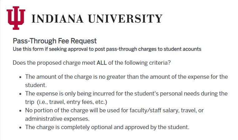 Pass Through Fee Request Form IU Bloomington OneIU