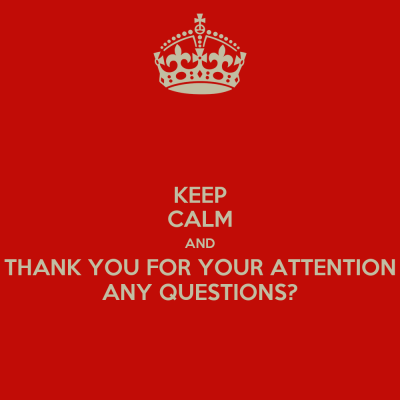 KEEP CALM AND THANK YOU FOR YOUR ATTENTION ANY QUESTIONS? - KEEP CALM AND CARRY ON Image Generator