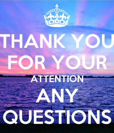 THANK YOU FOR YOUR ATTENTION ANY QUESTIONS Poster   A   Keep Calm-o-Matic