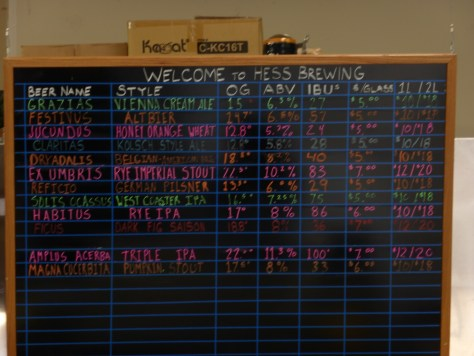 Hess tap list as of 11/30/2013.