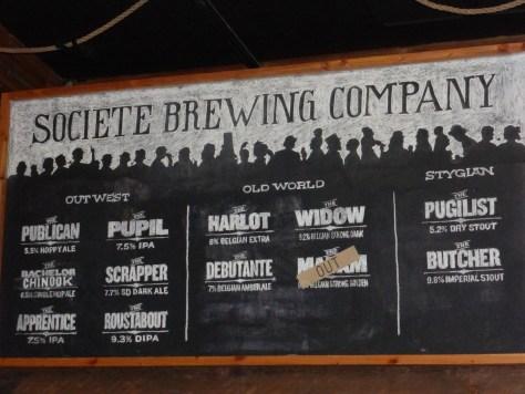 Societe Brewing Company beer selection November 2013.