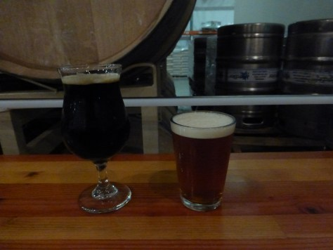 Black Lager (left) Cask IPA (right).