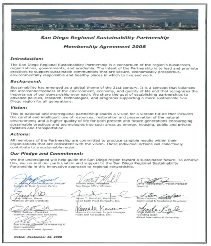 Resources San Diego Regional Sustainability Partnership - real estate partnership agreement