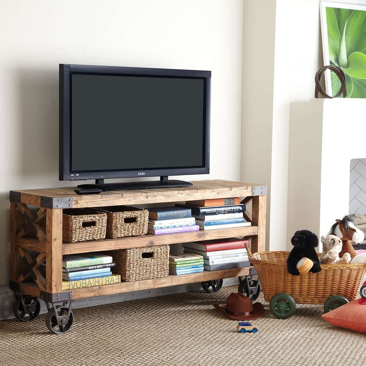 Tv Stand With Wheels Wooden Tv Stand On Wheels Shapeyourminds