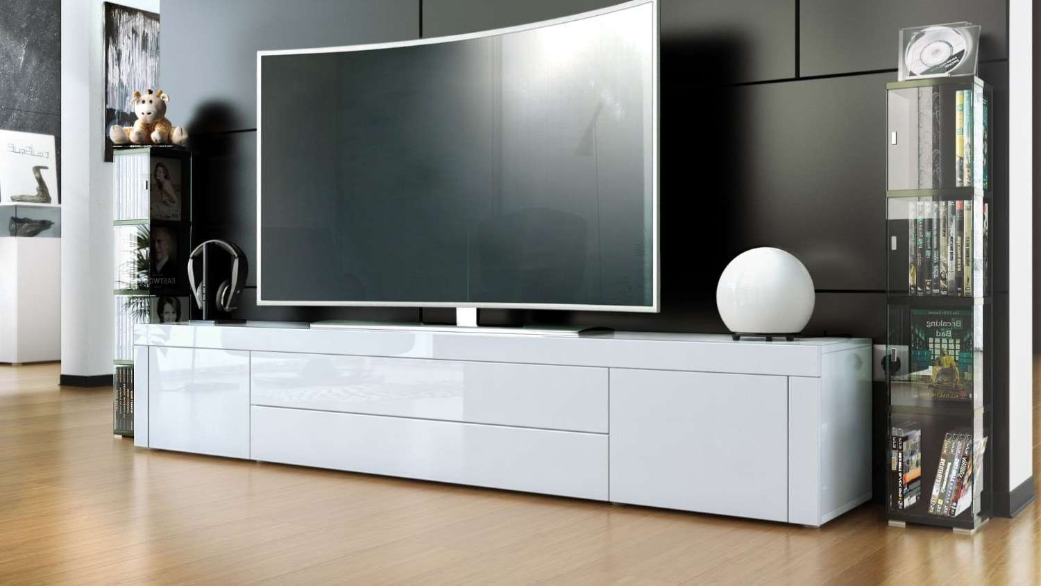 White Tv Stand Explore Photos Of Glossy White Tv Stands Showing 15 Of 15