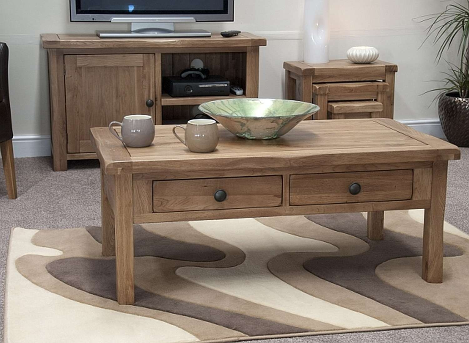 Original Coffee Table 20 Inspirations Of Rustic Oak Coffee Table With Drawers
