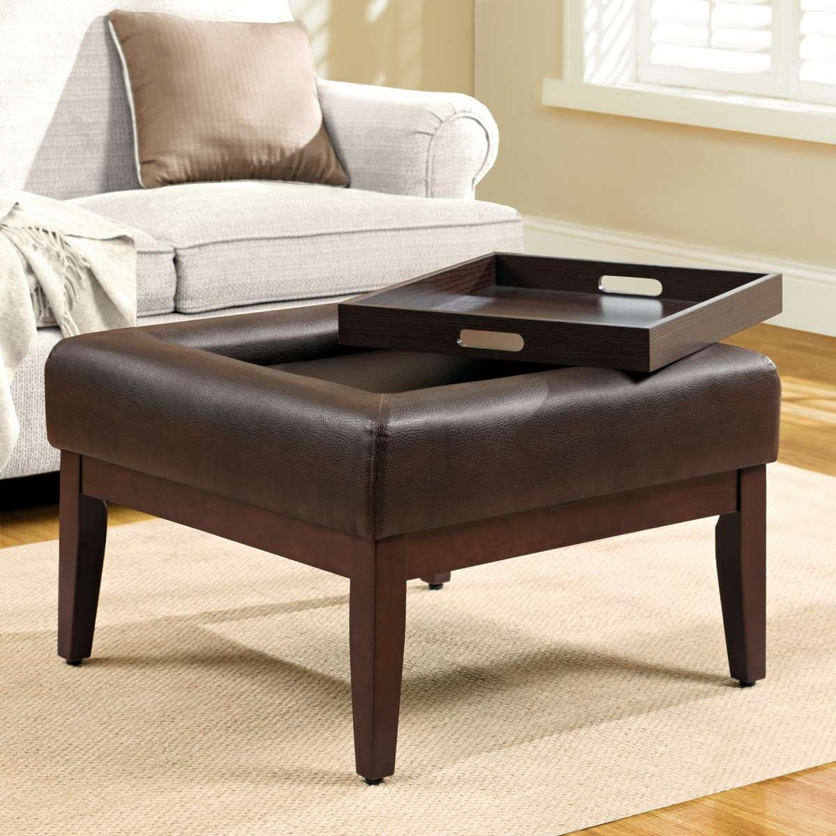 Brown Leather Coffee Table Ottoman 2018 Popular Brown Leather Ottoman Coffee Tables With Storages