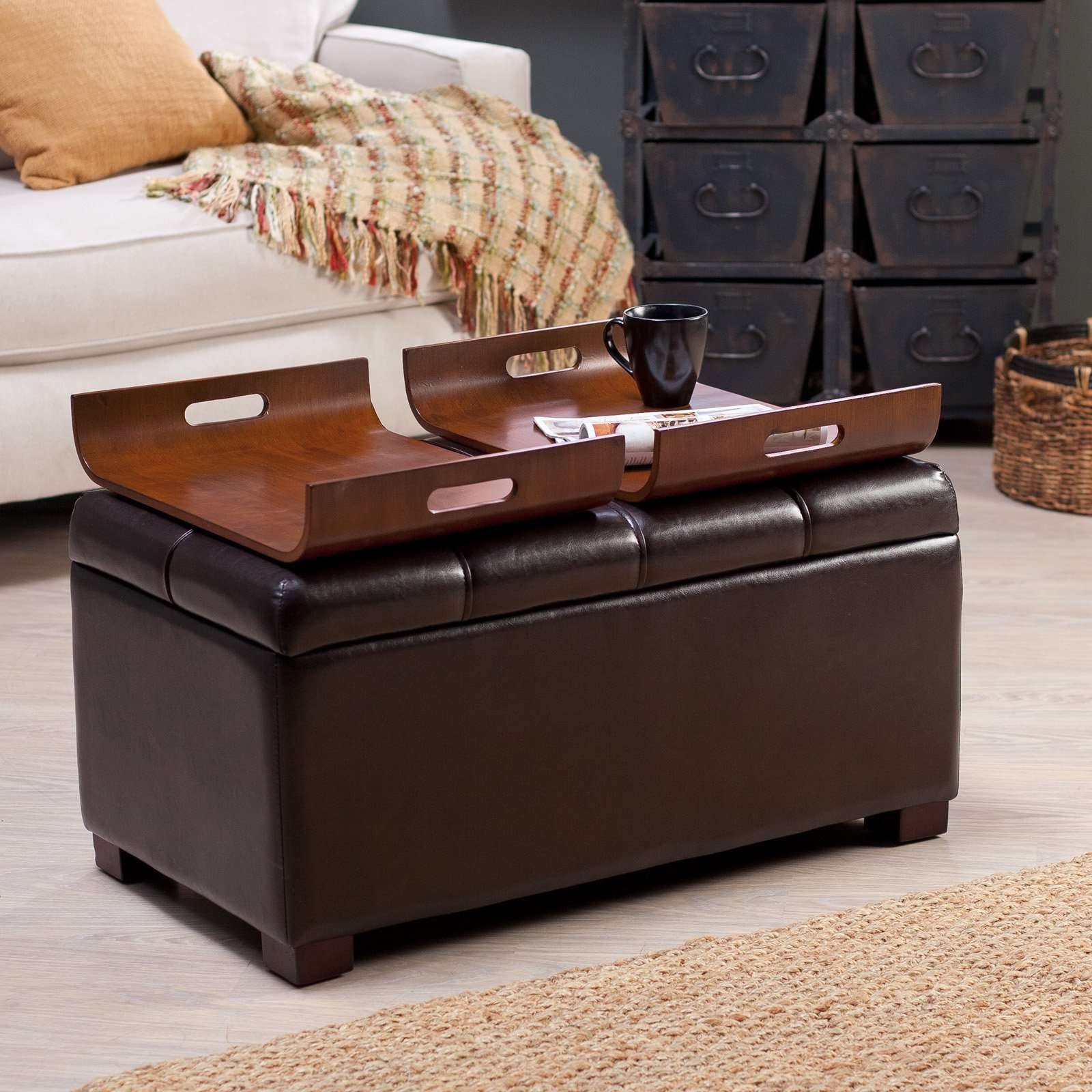 Ottoman Coffee Table Black 2018 Popular Brown Leather Ottoman Coffee Tables With Storages