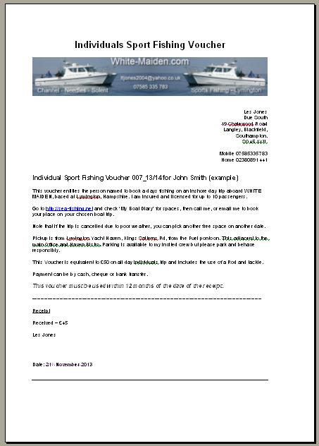 Individual Sports Fishing Voucher - example of a voucher