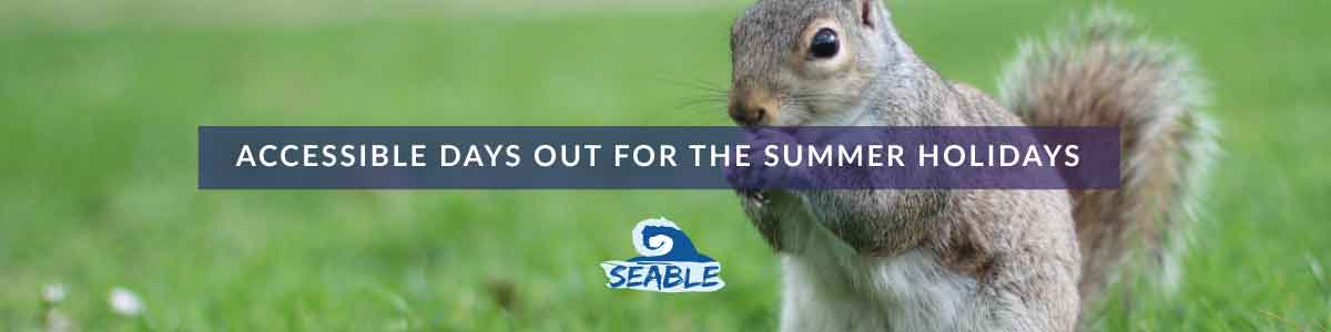 a picture of a squirrel in a park with the title accessible days out for the summer holidays