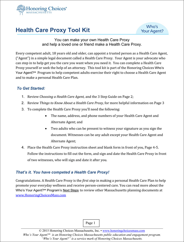 Massachusetts Health Care Proxy Information Instructions Inducedfo