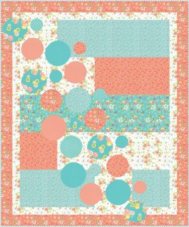 quilt in aqua and coral