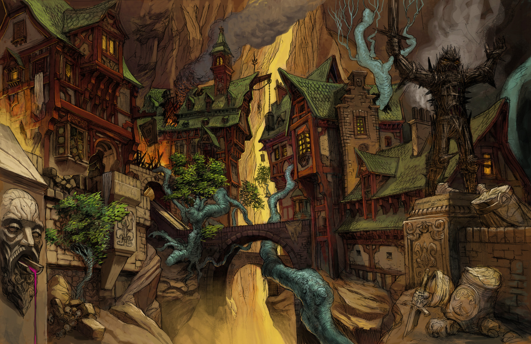 Transformers Fall Of Cybertron Wallpaper Hd Canyon Village Concept Art For Kingdoms Of Amalur Sean