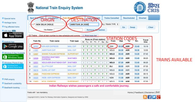 national train enquiry system India