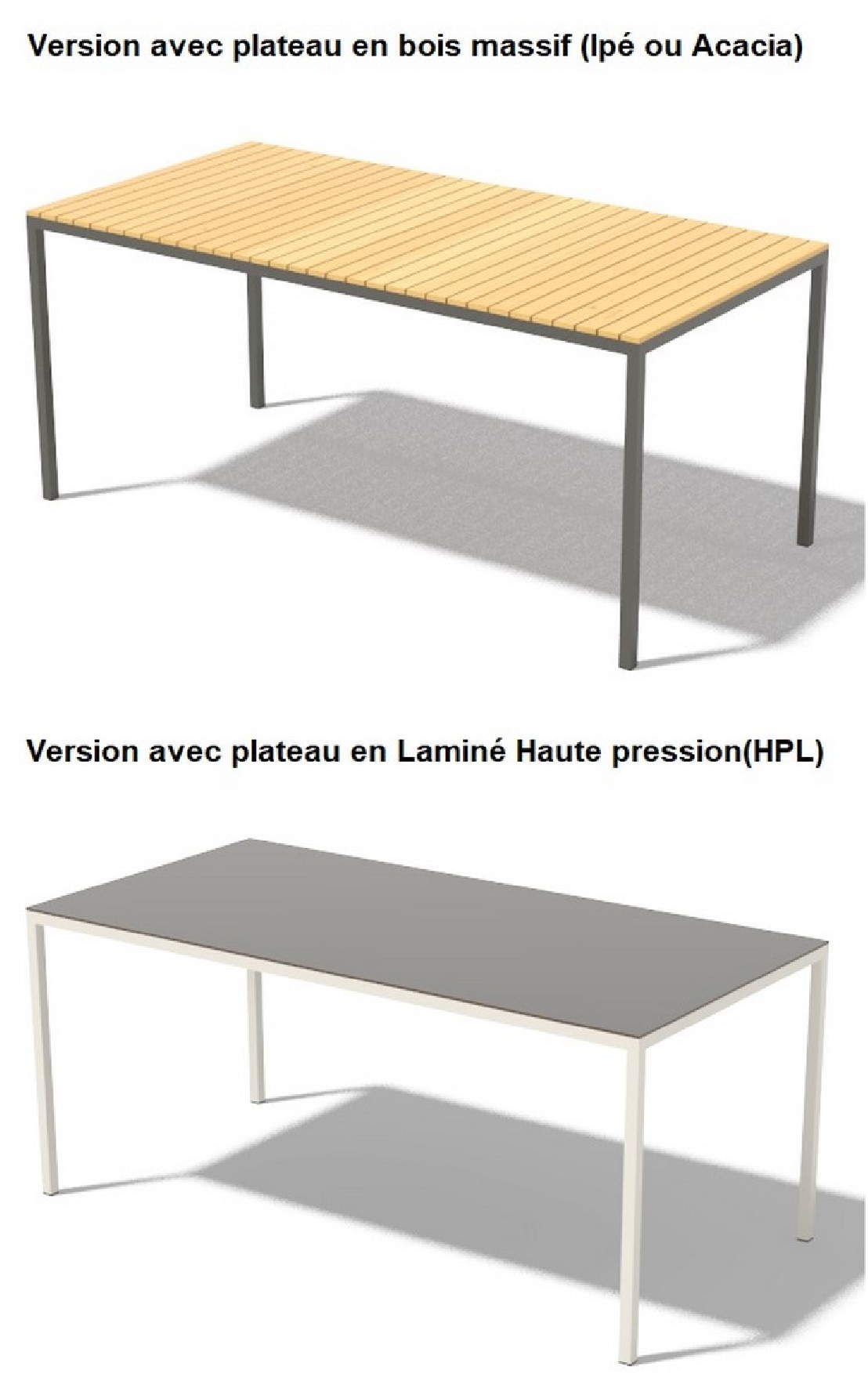 Salon Jardin Metal Couleur Table Cora Rectangle 175 Cm Pour Salon De Jardin En Métal