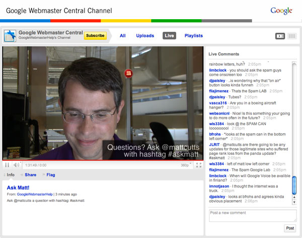 Googleu0027s Matt Cutts Live Q\A On YouTube Now - live video chat room