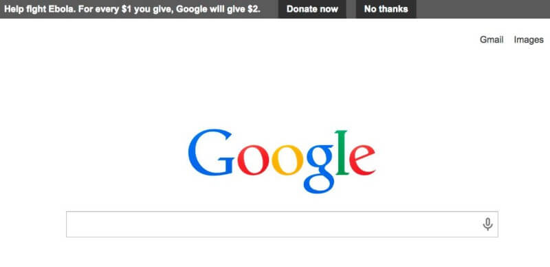 Google ebola donation request