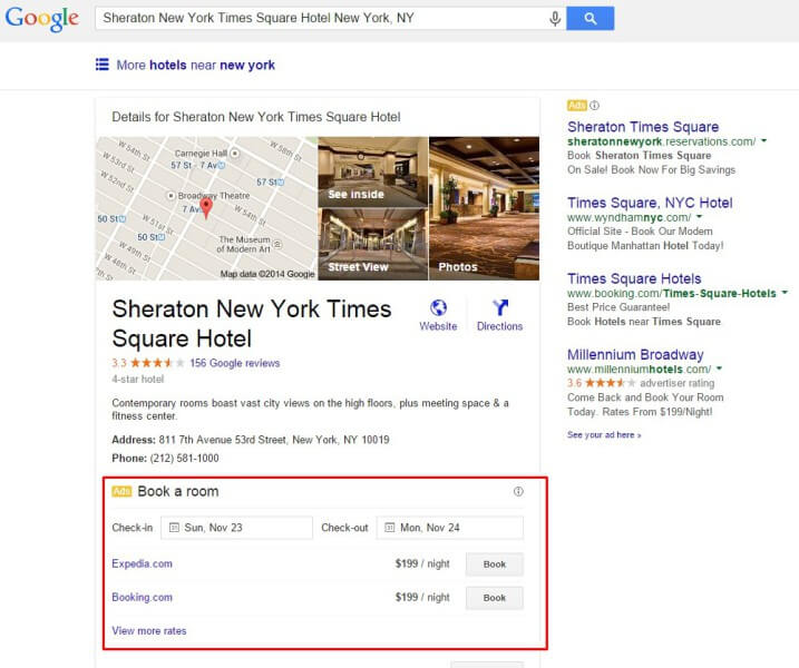 Google hotel booking ads on knowledge panels