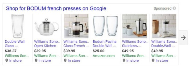 Williams-Sonoma advertising products for