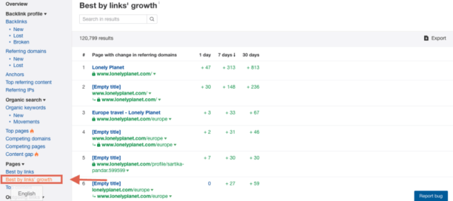 backlink growth report