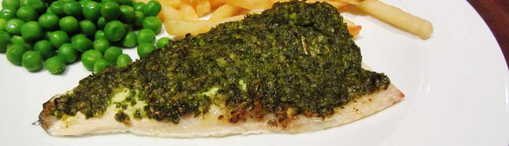 pesto crusted sea bass 1