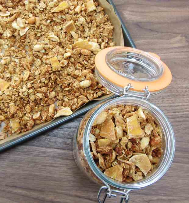 Peanut mango and coconut granola
