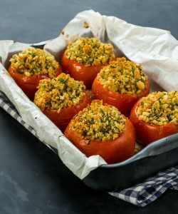 cider barley stuffed tomatoes