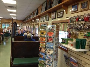 Picture taken inside Moody's Diner. Souvenirs for sale.