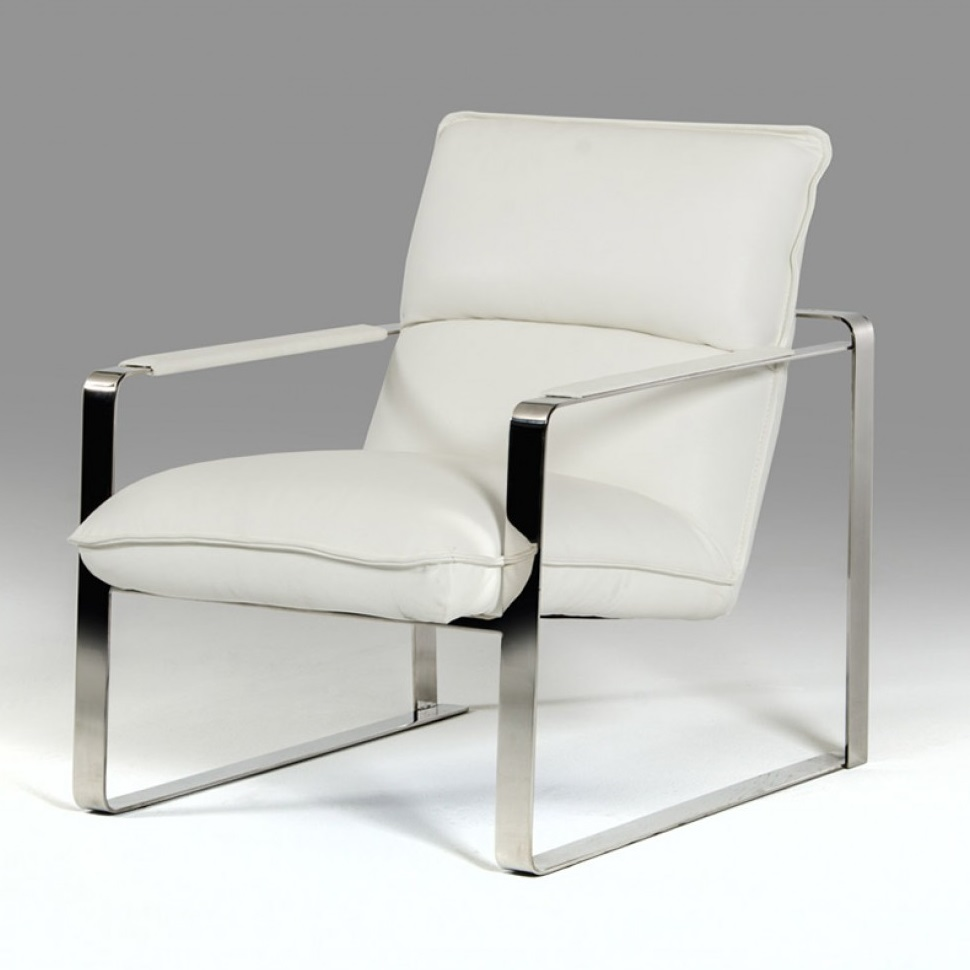 Leather Lounge Divani Casa Dunn Modern White Leather Lounge Chair