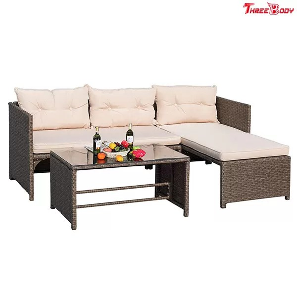 3 Pieces Rattan Sectional Outdoor Lounge Sofa Sets