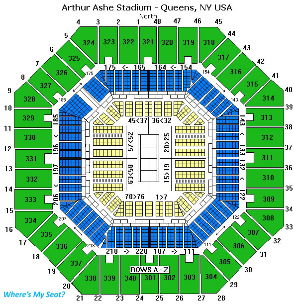 Arthur Ashe Stadium, Queens NY Seating Chart View