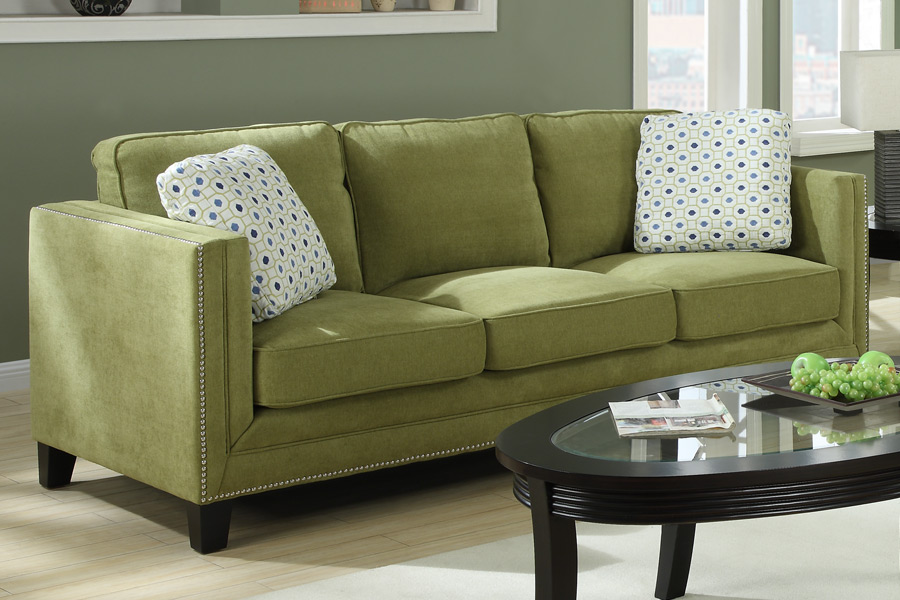 Sofa and love seat available in grey or apple green plus accent chairs