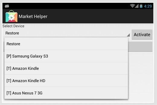 Application incompatible sur Google Play : Market Helper