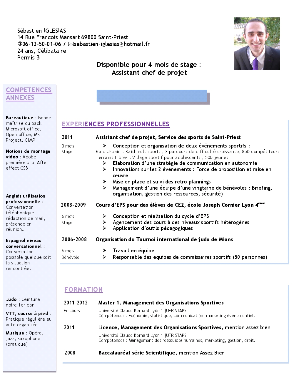 presentation competences cv word