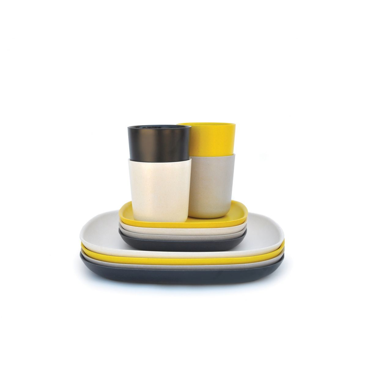 Assiette Jetable Solide Lunch Set En Fibre De Bambou Biodégradable 4 Gobelets 4