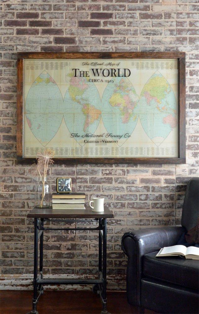 Antique orange peel world map - Office Decor - Antique Map Art