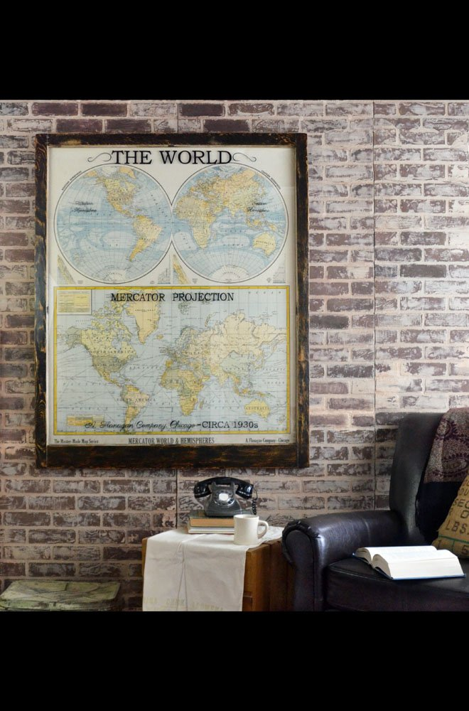Large antique world map wall artwork - Office Decor - Antique Map Art