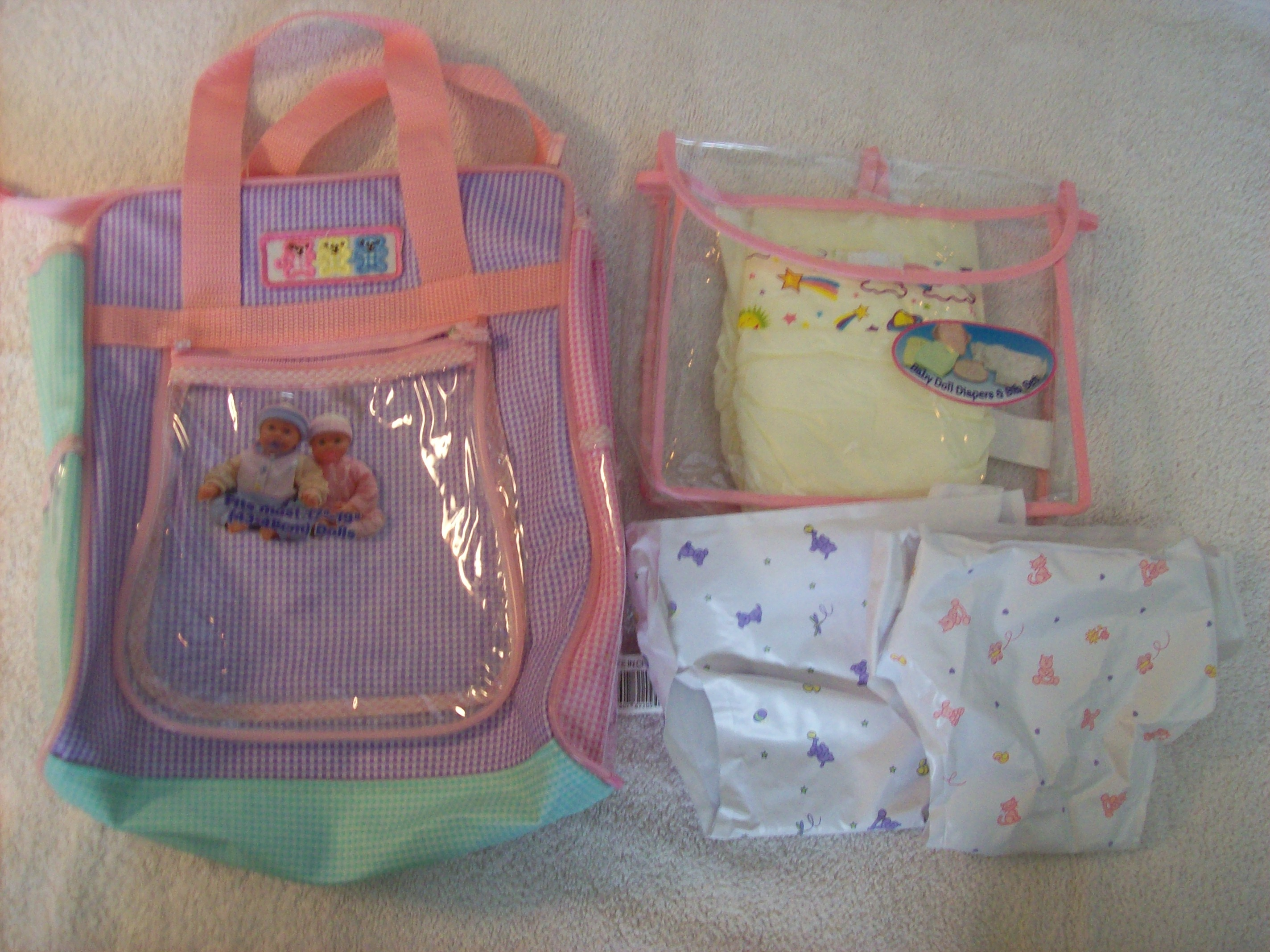 Doll Carrier And Diaper Bag Set With Doll Diapers