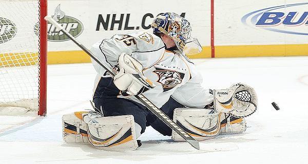 Pekka Rinne of the Nashville Predators makes a save.