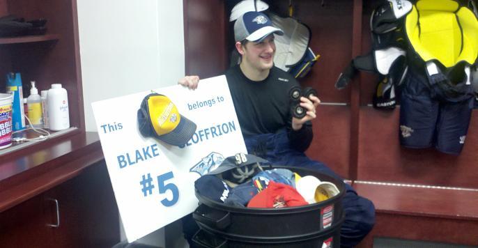 Blake in locker room
