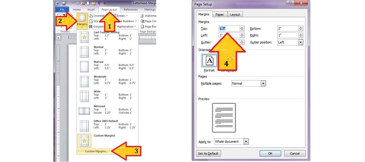 Word 2010 \u2013 Custom Margins and \u201cLocking\u201d Letterhead Graphics