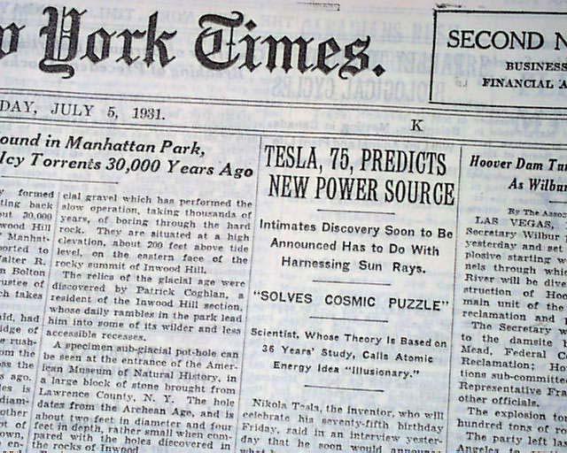 NIKOLA TESLA Father of Radio POWER Discovery  US Open Golf 1931