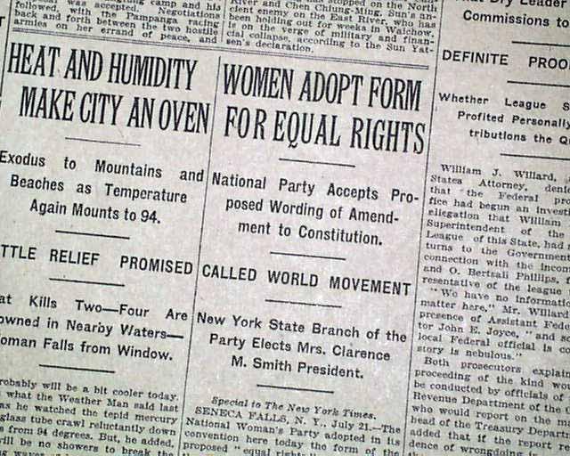 WOMEN\u0027S SUFFRAGE Seneca Falls NY EQUAL RIGHTS Amend Convention 1923