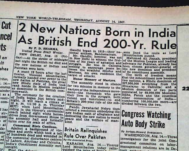 Partition of India in 1947 - RareNewspapers