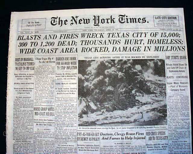 Texas City Explosion 1947 Rarenewspaperscom