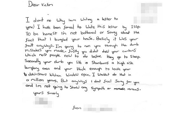 Burglar abuses victims in \u0027apology\u0027 letter - Telegraph - apology letter to family