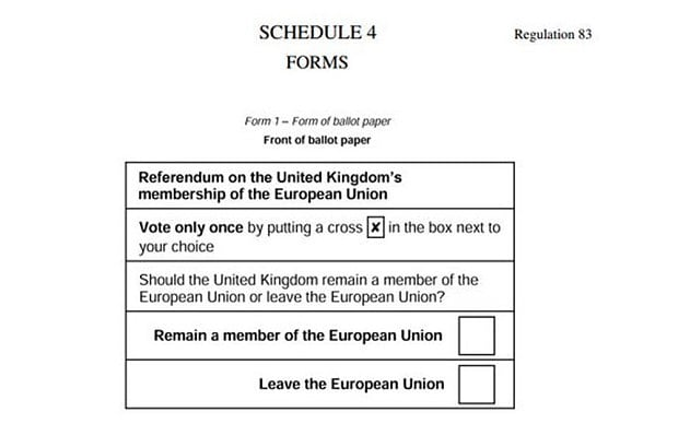 This is what the ballot paper for the EU referendum vote will look